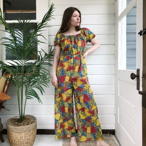 Vintage 70's Primary Colors Wide Leg Jumpsuit